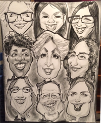 Caricatures of staff at C.O.