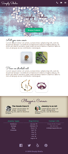 Simply Shelia UX/UI Web Page Project - Small Business Jewelry